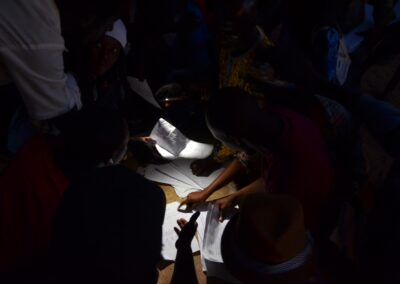 Volunteers count the votes until late at night. Serekunda, The Gambia 2016