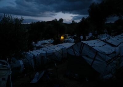 "Dawn in the ""Olive Grow"" camp, a informal settlement next to the Moria main camp. Lesbos, October 2018."