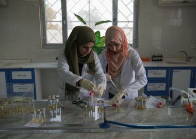 Medical staff during research in laboratory. Baiji, February 2019.